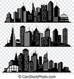 cityscapes, miasto, sylwetka na tle nieba, zabudowanie, wielkie miasto, sylwetka, wektor, komplet