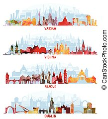 Cityscapes of Warsaw, Vienna, Prague and Dublin,