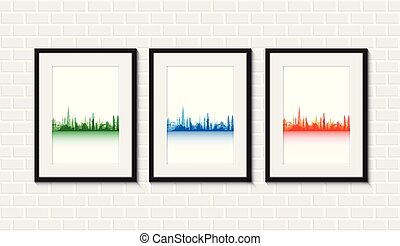 cityscapes on a brick wall