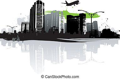 cityscapes, silhouette, fondo