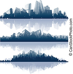 cityscapes, silhouettes, achtergrond