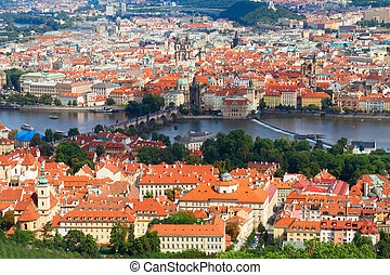 Prague from above - cityscaspe of Prague from above at...