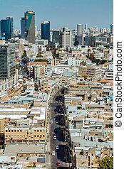 cityspace, aérien, gratte-ciel, aviv, téléphone, vue