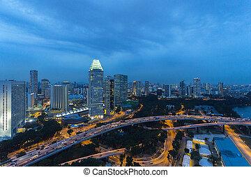 cityspace, crepúsculo, tarde, cielo, singapur
