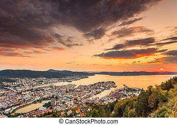 Cityspace of Bergen, panoramic view - Cityspace. Panoramic...