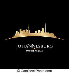 ciudad, áfrica, johannesburg, ilustración, silhouette., contorno, vector, sur