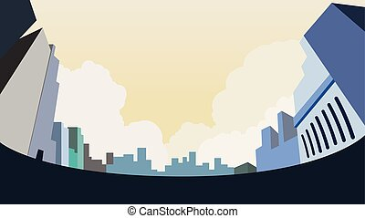 ciudad, ángulo, cielo, illustration.buidings, vector,...