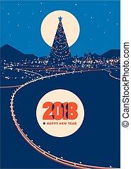 ciudad, árbol grande, ilustración, luces, vector, ...