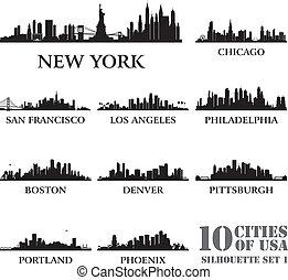 ciudad, #1, conjunto, silueta, estados unidos de américa