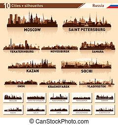 ciudad, 10, set., contorno, ciudades, rusia