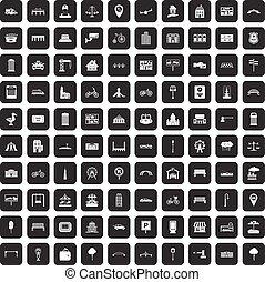 ciudad, 100, conjunto, negro, iconos