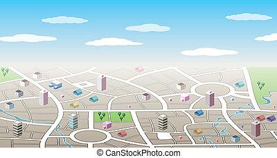 ciudad, 3d, mapa