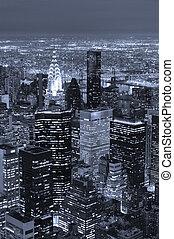 ciudad, aéreo, anochecer, contorno, york, nuevo, manhattan, vista