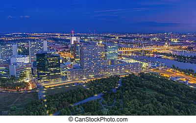 ciudad, aéreo, austria, cityscape, vista., noche, viena