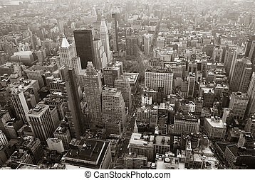 ciudad, aéreo, contorno, negro, york, nuevo, blanco, manhattan, vista