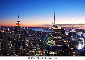ciudad, aéreo, contorno, york, nuevo, manhattan, vista