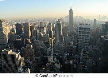 ciudad, aéreo, encima, centro de la ciudad, york, nuevo, manhattan, vista