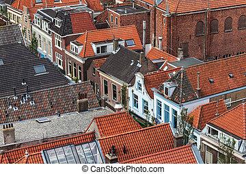 ciudad, aéreo, histórico, holandés, delft, vista