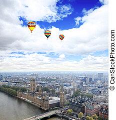 ciudad, aéreo, londres, vista
