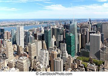 ciudad, aéreo, panorámico, york, nuevo, vista