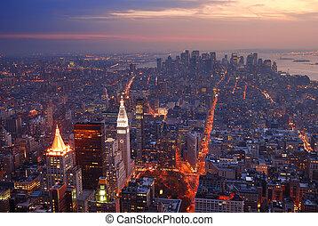 ciudad, aéreo, panorama, contorno, ocaso, york, nuevo, manhattan, vista
