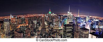 ciudad, aéreo, panorama, contorno, york, nuevo, manhattan