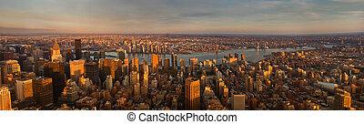 ciudad, aéreo, panorama, york, nuevo, vista., sunset.