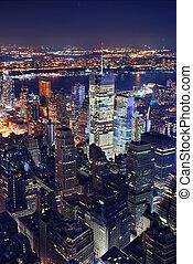 ciudad, aéreo, york, noche, nuevo, vista