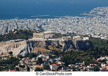 ciudad, acrópolis, punto, -, atenas, lykavittos, colina, supra-sumo, vista