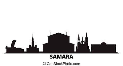 ciudad, aislado, negro, viaje, contorno, samara, rusia,...