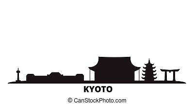 ciudad, aislado, negro, viaje, kyoto, contorno, japón,...