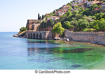 ciudad, alanya, fortaleza, viejo, turco