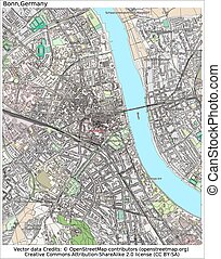ciudad, alemania, bonn, mapa