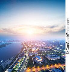 ciudad, alto-altitud, escena, noche