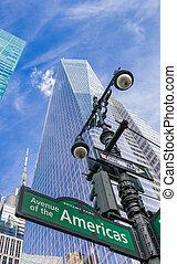 ciudad, américas, calle, york, nuevo, señal, avenida