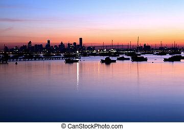 ciudad, amanecer