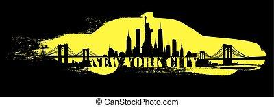 ciudad, amarillo, contorno, vector, york, taxi, nuevo