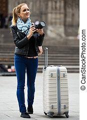 ciudad, ambulante, cámara, digital, mujer, otoño