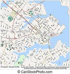 ciudad, annapolis, maryland, estados unidos de américa, mapa