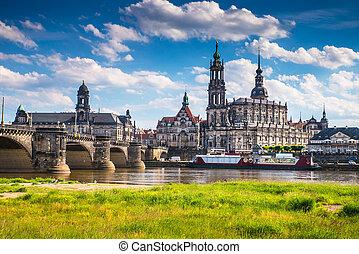 ciudad, antiguo, centro, dresden, cultural, histórico, europe., germany.