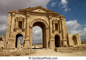 ciudad, antiguo, jerash., gera, jordania, grecorromano, ruinas