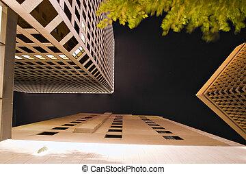 ciudad, arquitectura, noche