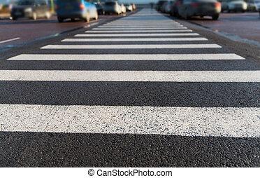 ciudad, arriba, peatón, estacionamiento, cierre, crosswalk