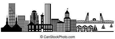 ciudad, arte, clip, panorama, contorno, portland