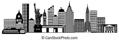 ciudad, arte, clip, panorama, contorno, york, nuevo