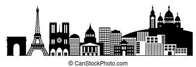 ciudad, arte, clip, parís, panorama, francia, contorno