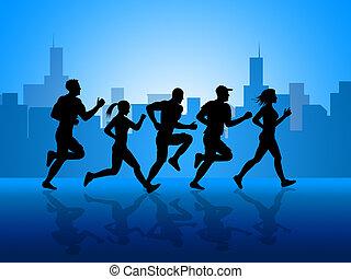 ciudad, ataque, conseguir, ejercicio aeróbico, exposiciones