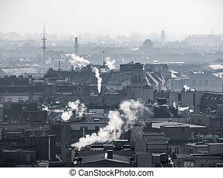 ciudad, atmósfera, poco claro, pollution., -, aire, levantamiento, humo, niebla tóxica, chimneys., contaminado