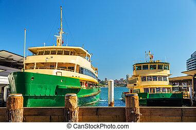 ciudad, australia, muelle, transbordadores, sydney, circular