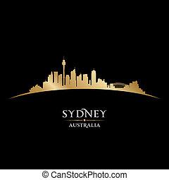 ciudad, australia, silueta, contorno sydney, fondo negro